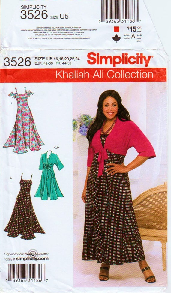 Khaliah Ali Plus Size Dress Empire Waist Dress Sundress Pattern Off  Shoulder Dress Kimono Jacket SIMPLICITY 3526 UNCUT bust 38-46 Tie Jacket
