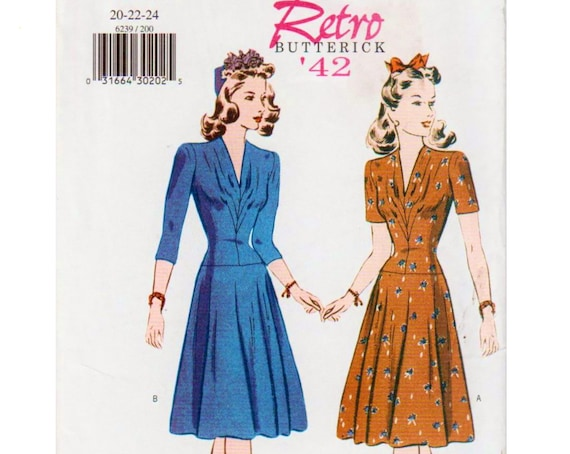 Plus Size Vintage Dress Pattern 1940s Dress Pattern 1940s Costume WWII  Dress BUTTERICK RETRO 6239 UNCuT 20-22-24 V-neck Dress 40s Dress