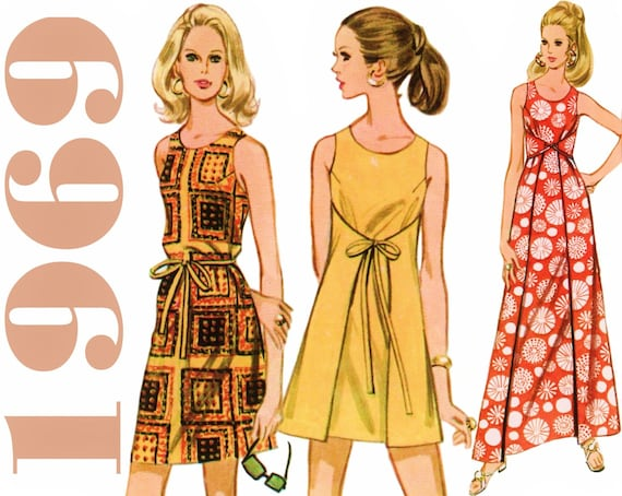 Jahrgang Wrap Kleid 1960er Jahre Mini Kleid Schnittmuster | Etsy