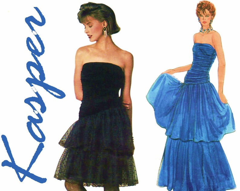 4e898e3869e 1980s Prom Dress Pattern Strapless Dress VOGUE AMERICAN
