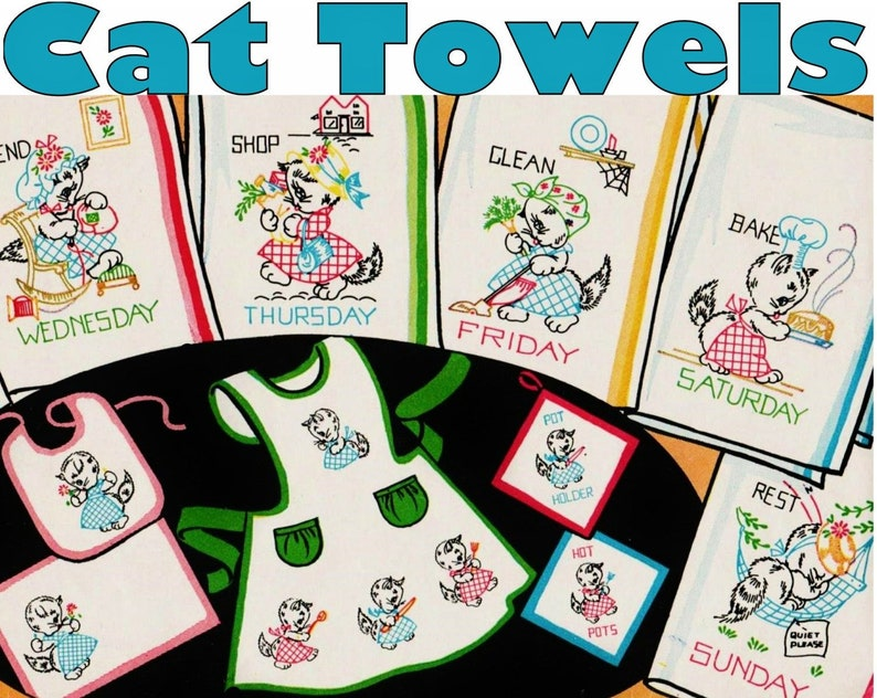 7fc4d93d8cb325 Cat Tea Towels Day of the Week Towel Embroidery Pattern PDF | Etsy