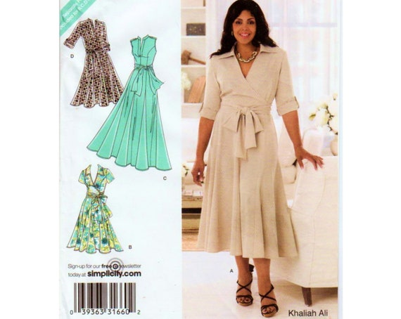 Khaliah Ali Plus Size Dress Pattern Mock Wrap Dress Pattern Fit and Flare  Dress SIMPLICITY 2981 UNCUT bust 40-46\