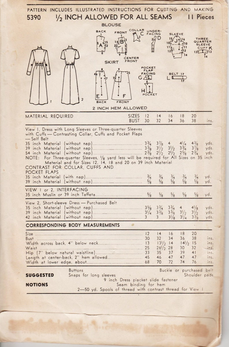 """VINTAGE anni 1950 Sewing Pattern Peter Pan Camicetta Wiggle Gonna Longuette Busto 34/"""""""