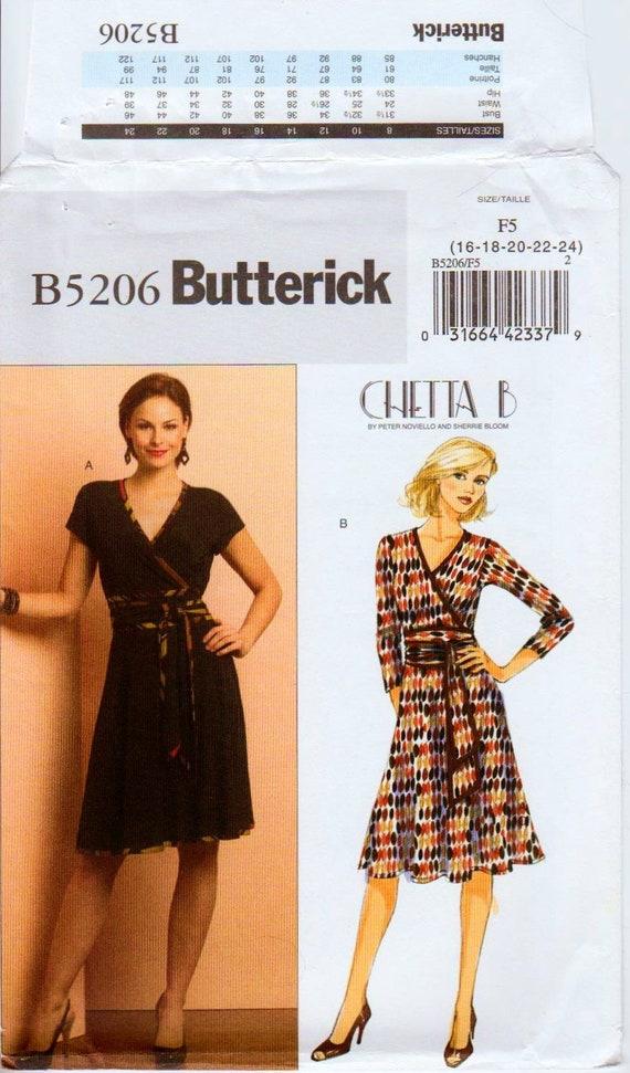 Mock Wrap Dress Pattern Designer Dress Stretch Knit Dress Jersey Dress Surplice Neckline Belted Dress BUTTERICK 5206 UNCUT bust 38 46