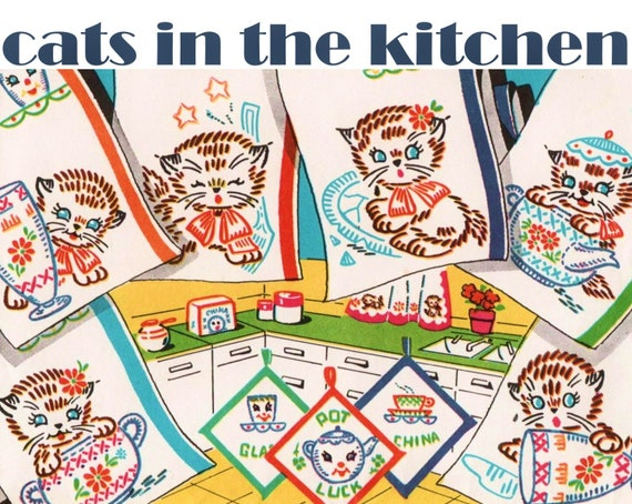 Cats In The Kitchen Vogart 694 Pdf Download Embroidered Cats Kitchen Cats Kitchen Towels Pattern Vintage Tea Towel Embroidery Pattern