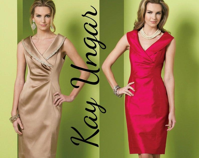 KAY UNGER Designer Dress Sheath Dress Surplice Neckline VOGUE  ff33bbba6