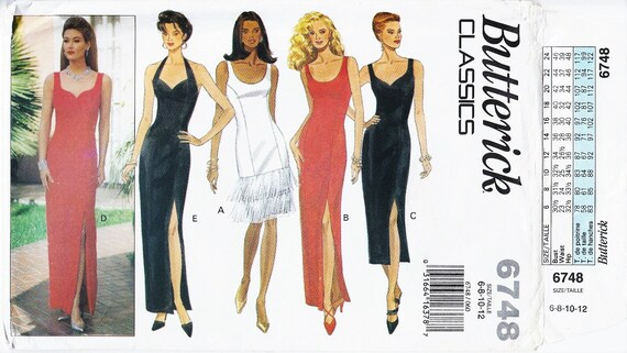 Halter Gown Pattern Sheath Gown Pattern Evening Gown Pattern Sweetheart Neckline BUTTERICK 6748 UNCUT sz 6-8-10-12 Fringe Dress Sexy Dress
