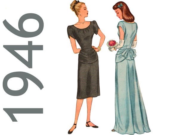 Bustle Dress Bustle Gown 1940s Evening Gown Pattern SIMPLICITY | Etsy