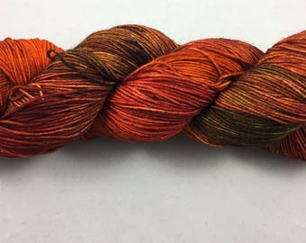 hand dyed sock yarn, multi-colorway EMBERS, fingering weight yarn, superwash merino wool and nylon, 4 ply