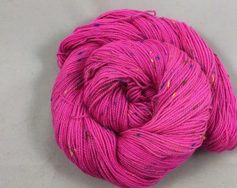 hand dyed sock yarn, Donegal Tweed NEON BUBBLES, superwash merino wool and NEP, 2 ply fingering weight yarn