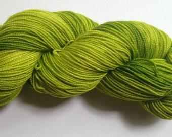 Hand dyed sock yarn, Merino and nylon, 2 ply, MY FAVORITE MARTIAN colorway