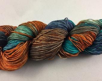 hand dyed sock yarn, colorway ROCKY COAST, superwash merino wool and nylon, fingeringweight
