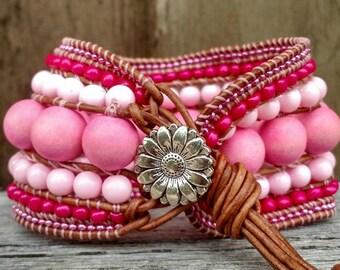 Candy shop, Bubblegum, chunky wrap bracelet, leather wrap cuff, beaded cuff bracelet, boho bracelet, leather wrap bracelet,