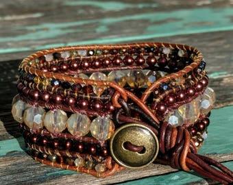 Handmade, brown beaded leather bracelet, leather bracelet, leather wrap cuff bracelet, leather cuff, boho,