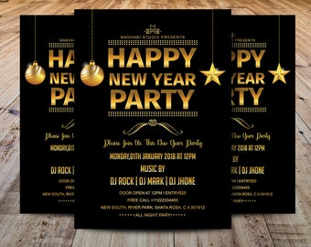 new year party flyer template printable new year invitation card adobe photoshop and elements template instant download
