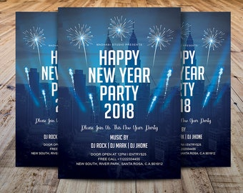 new year party flyer template printable new year invitation card ms word adobe photoshop and elements template instant download