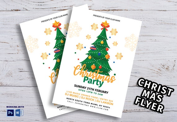 Christmas Party Flyer Holiday Party Flyer Template Christmas Etsy