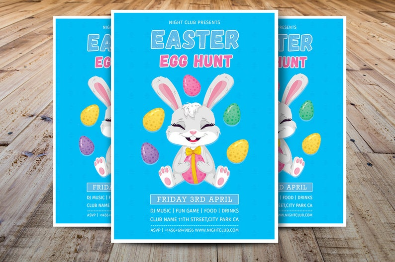 Easter Egg Hunt Flyer Template, Easter Party Flyer, Easter Invitation  Template, Photoshop, Elements and MS Word Template, Instant Download
