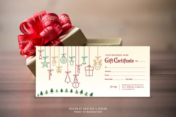 Christmas Gift Certificate Template.Printable Gift Certificate Christmas Gift Holiday Gift Certificate Multipurpose Gift Certificate Photoshop Ms Word Instant Download