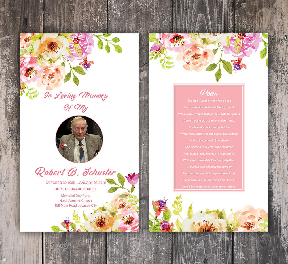Funeral Prayer Card Template Editable Ms Word Photoshop Etsy