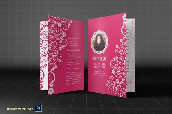 Pink Memory Funeral Program Template Funeral Memorial Etsy