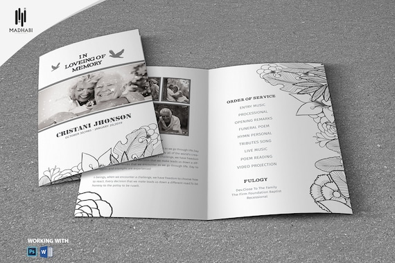 black white funeral program template printable funeral etsy