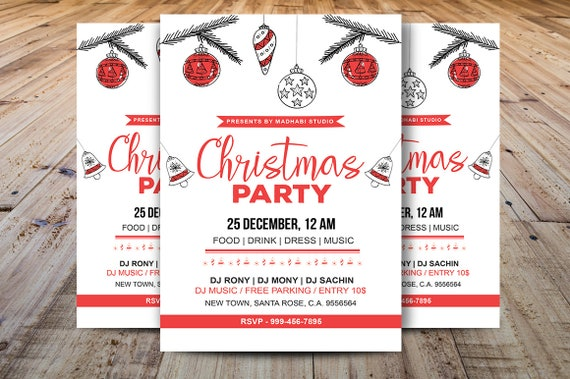 Christmas Party Flyer Template Christmas Invitations Template Holiday Card Ms Word And Photoshop Template Instant Download