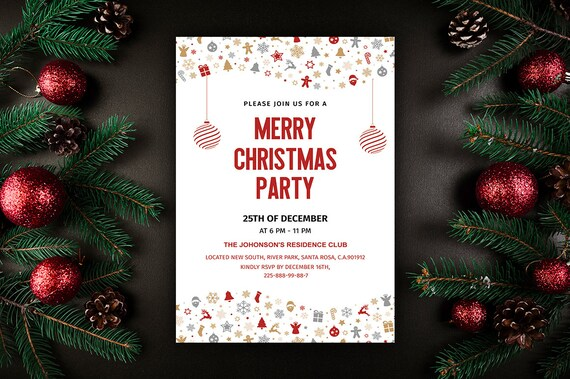Christmas Party Flyer Template.Merry Christmas Party Flyer Template Christmas Invitations Template Holiday Card Ms Word And Photoshop Template Instant Download