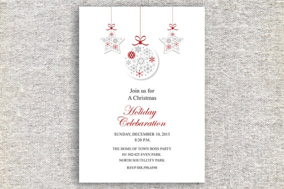 Christmas Celebaration Card Christmas Office Invitation Card Christmas Party Invitation Ms Word Photoshop Template Instant Download