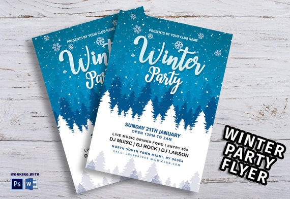 Winter Celebration Party Flyer Winter Party Flyer Winter Invitation Ms Word Photoshop Elements Template Instant Download
