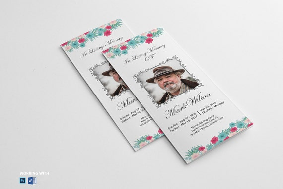 Printable Trifold Funeral Program Template Funeral Program Etsy