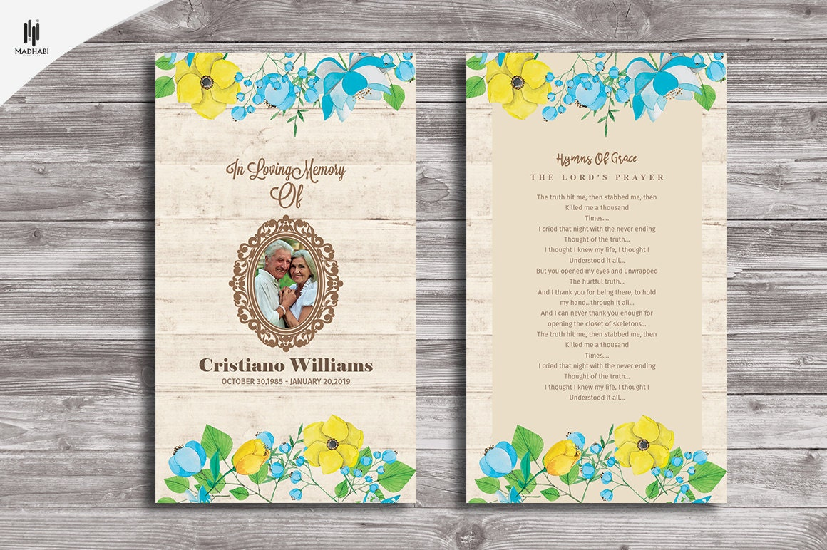 Funeral Prayer Card Funeral Program Template Memorial Etsy