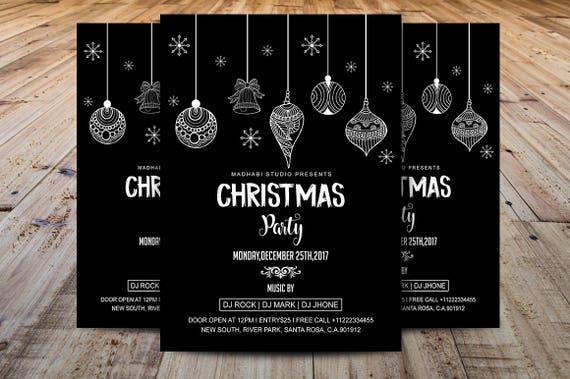 Christmas Invitations Template Holiday Card Christmas Party Flyer Template Ms Word And Photoshop Template Instant Download
