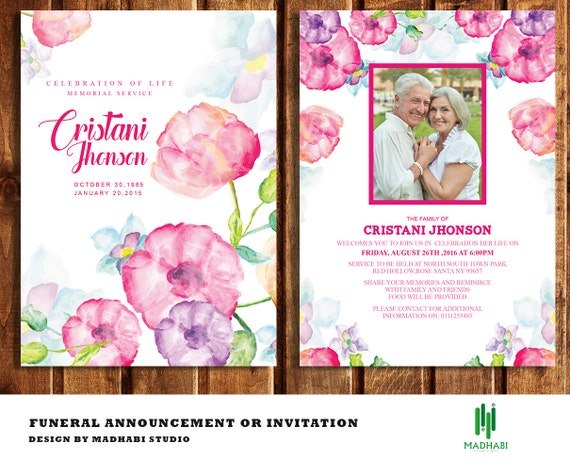 funeral invitation or announcement card 5x7 funeral card etsy
