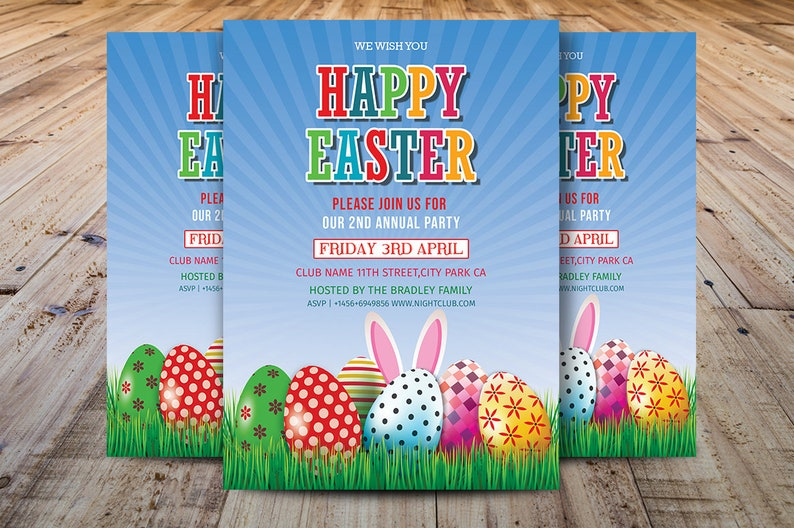 Easter Party Flyer, Easter Egg Hunt Flyer Template, Easter Invitation  Template, Photoshop, Elements and MS Word Template, Instant Download