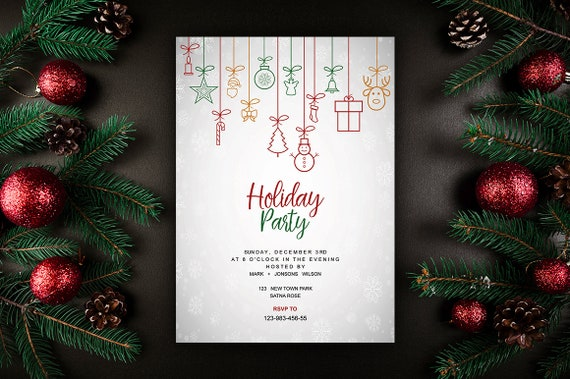 Holiday Party Flyer Template Christmas Invitations Template Holiday Card Ms Word And Photoshop Template Instant Download