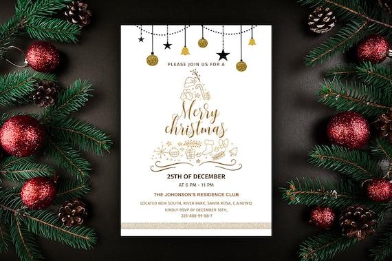 Merry Christmas Flyer Template Christmas Invitations Etsy