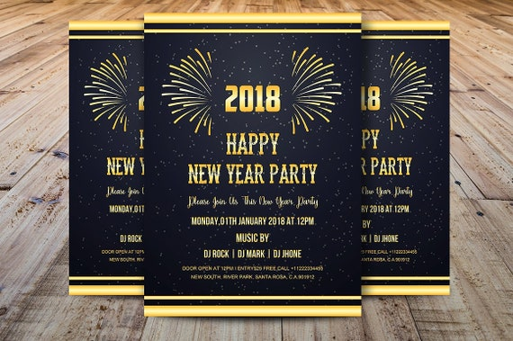 Printable New Year Invitation Card New Year Party Flyer Template Ms Word Photoshop Template Instant Download