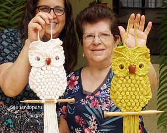 "Crochet ""Macrame"" owl (English instructions PDF pattern only)"