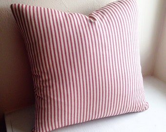 Red stripe cotton ticking pillow cover.  Zipper closure on the bottom.  Custom made to the size you want!