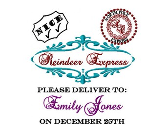 reindeer express embroidery design personalized embroidery design santa sack embroidery design gift from santa special delivery