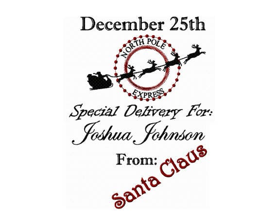North Pole Express Santa Delivery Bag Embroidery Design Etsy