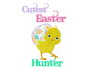 Cute Easter Egg Applique - Easter Egg Hunter Applique - Easter Embroidery - Easter Applique - Cute Chick Embroidery - Kids Embroidery Design