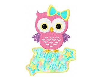 Owl Applique Design - Easter Owl Embroidery Design - Happy Easter Applique Design - Happy Easter Design - Easter Digitizing - Easter Owl