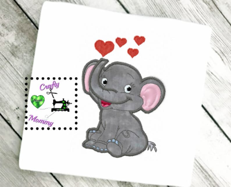 Baby Elephant with Heart Applique - Baby Shower Elephant Applique -  Elephant Love Applique - Valentine Day Elephant Applique - Baby Elephant