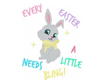 Easter Bunny Needs a Little Bling - Easter Bunny Embroidery Design - Girls Easter Embroidery Design - Kids Embroidery Design - Easter Saying