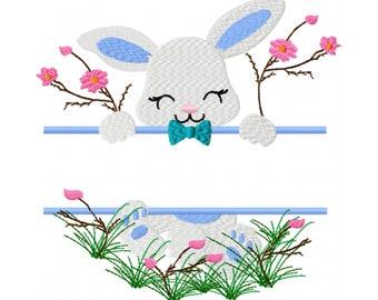 Split Monogram Embroidery Design - Split Bunny Embroidery Design - Easter Monogram Embroidery Design - Easter Bunny Embroidery Design