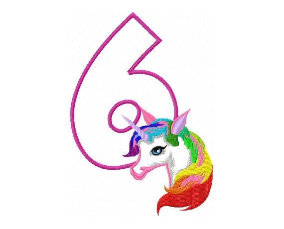 6th Birthday Applique Design Rainbow Unicorn Applique Design Etsy