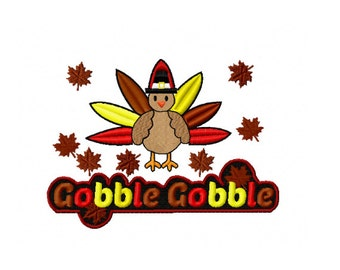 Thanksgiving Embroidery, Fall Embroidery, Turkey Embroidery Design, Machine Embroidery, Filled Stitch, Fall Design, Instant download