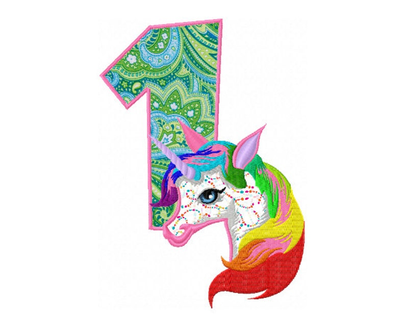 027bf49843d 1st Birthday Applique Design Rainbow Unicorn Applique Design